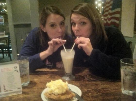 My sister and I sharing a milkshake at Ramsey's Diner