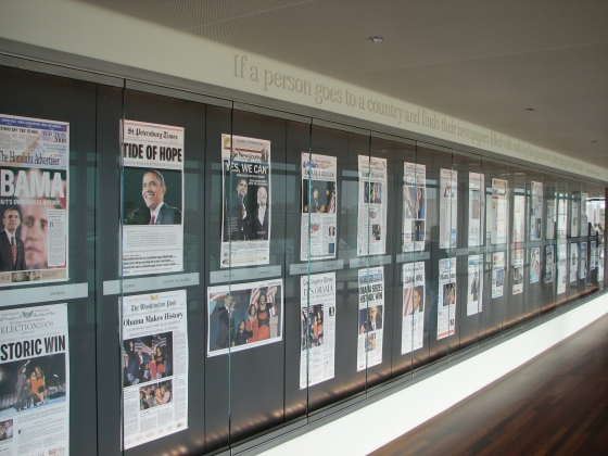 Articles in the Newseum (photo courtesy of commons.wikimedia.org)