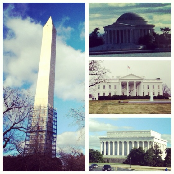 Washington Monument, Jefferson Memorial, White House, and Lincoln Memorial