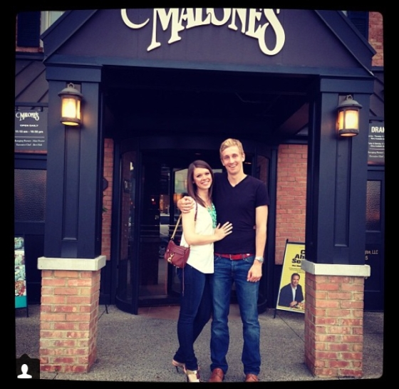 Outside J's favorite Lexington restaurant, Malone's