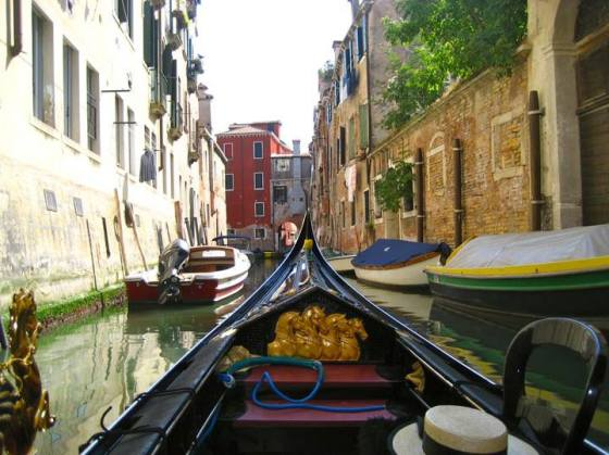 Our Gondola down the back streets of Venice