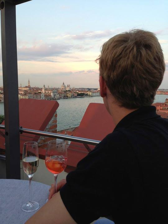 J with his Campari Spritz at the Hilton Molino Stucky Hotel rooftop bar
