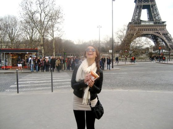 Being an epic tourist and eating a crepe at the Eiffel Tower