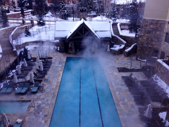 The heated pool area at the Four Seasons Vail