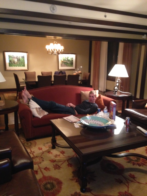 J relaxing in the condo after a day on the slopes