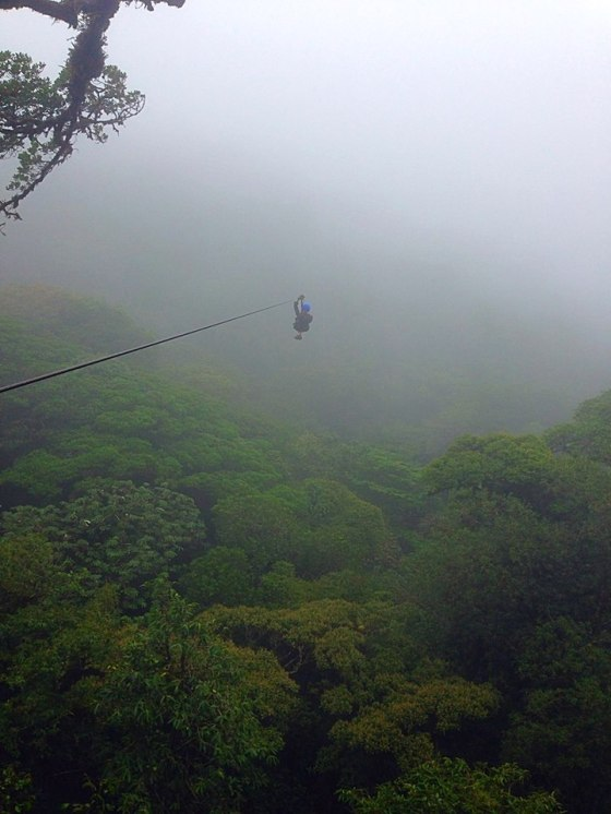 Into the cloud forest on the zip line