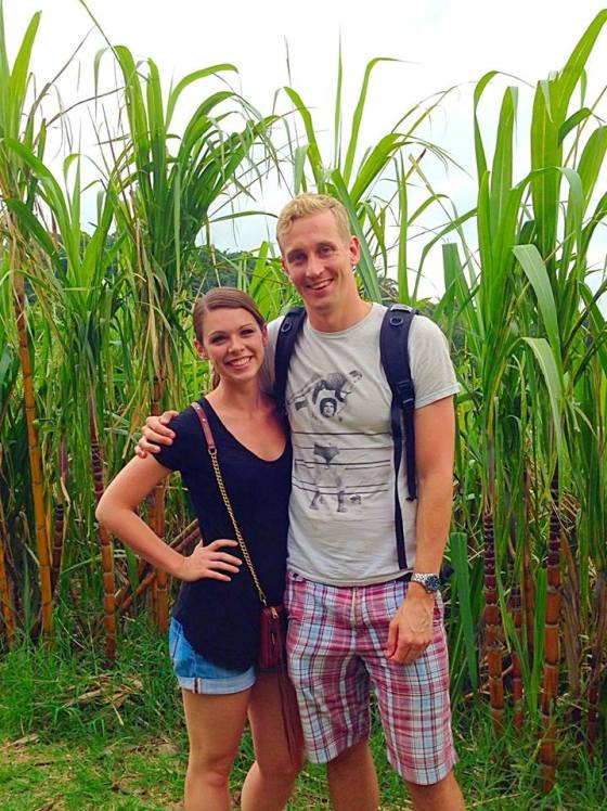 J and I among the sugar cane at El Trapiche