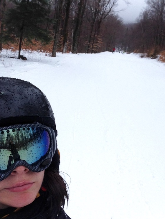 Mid-trail ski selfie during the Stratton washout.